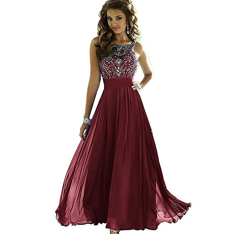 632d80baf21 Elegant Beaded Prom Dresses Chiffon Long