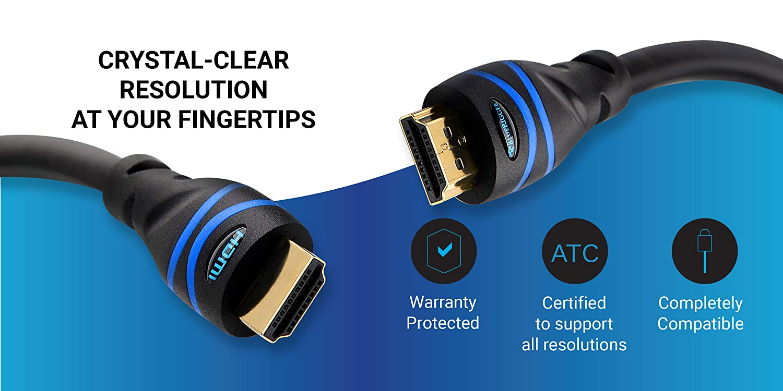 Male to Female Extender, Black BlueRigger 4K HDMI Extension Cable 15FT, Black