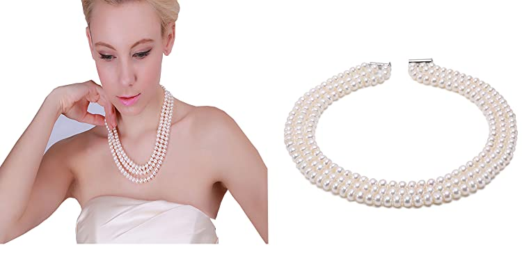 """6mm-7mm Blanc Akoya Cultured Pearl Necklace 25/""""AAA Natural"""