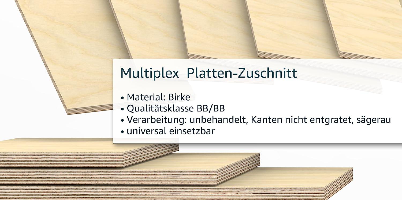AUPROTEC Multiplexplatte 30mm rechteckig 900 mm x 600 mm Holzplatten von 40cm-200cm ausw/ählbar Ecken Radius 100mm Sperrholz-Platten Birke Massiv Multiplex Holz Industriequalit/ät z.B als Tisch-Platte