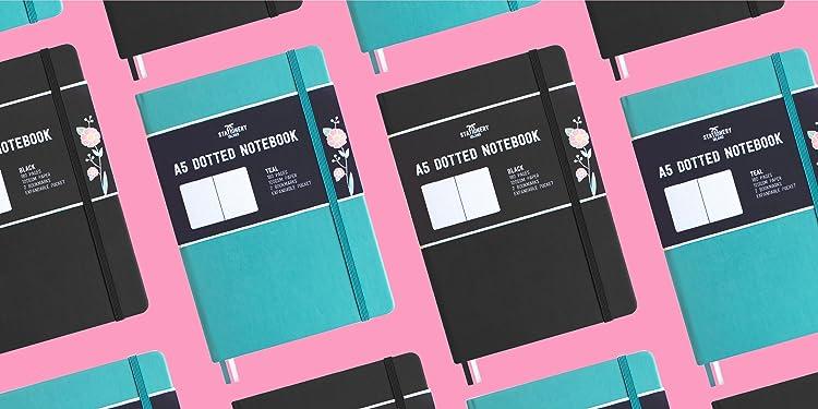 180 Pagine e Carta Premium 120gsm Stationery Island Quaderno Puntinato A5 Mirtillo Bullet Journal Con Copertina Rigida