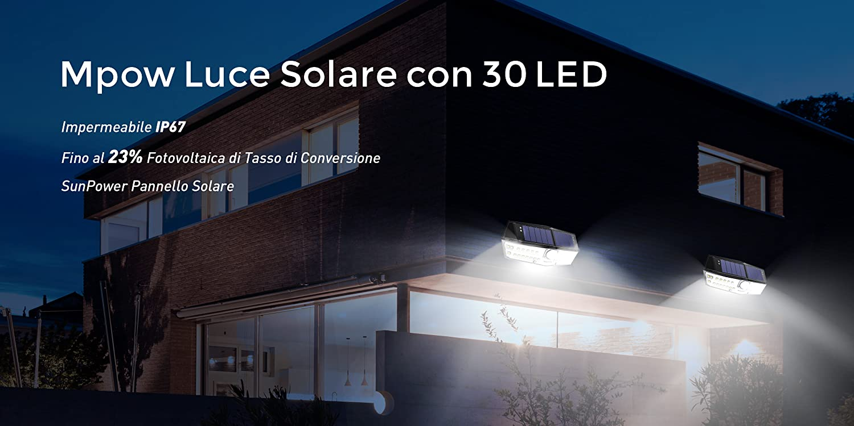 2 Pezzi Mpow Luce Solare 102 LED Luci Giardino 2500LM 3 Modalità di Illuminaz...