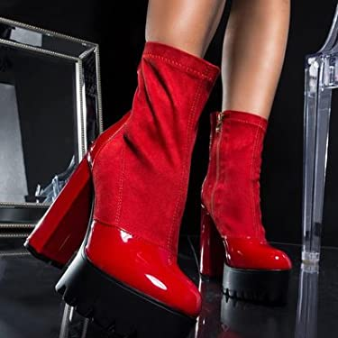 7349c4541ce AZALEA WANG Faux Suede Chunky Heel Rihanna Adjustable Belted Garter Chaps  Suspender Boots