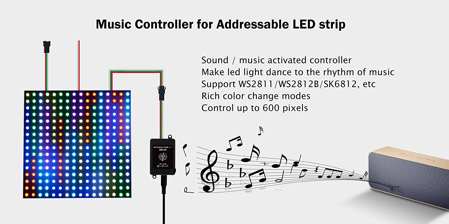 Alitove Led Controller Light Circuit Wireless Bluetooth Magic Dream Color Ios Android Dc5v24v Great For Ws2811 Ws2812b Ws2801 Sk6812 Individually Addressable