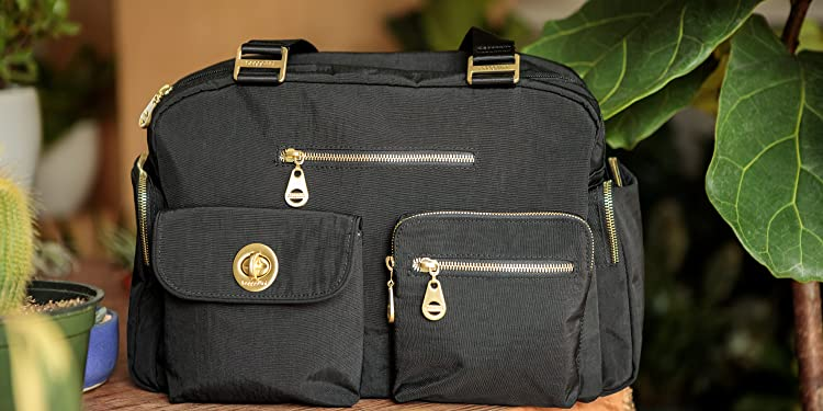 43888aa32a92 Baggallini Gold International Venice Laptop Black Shoulder Bag