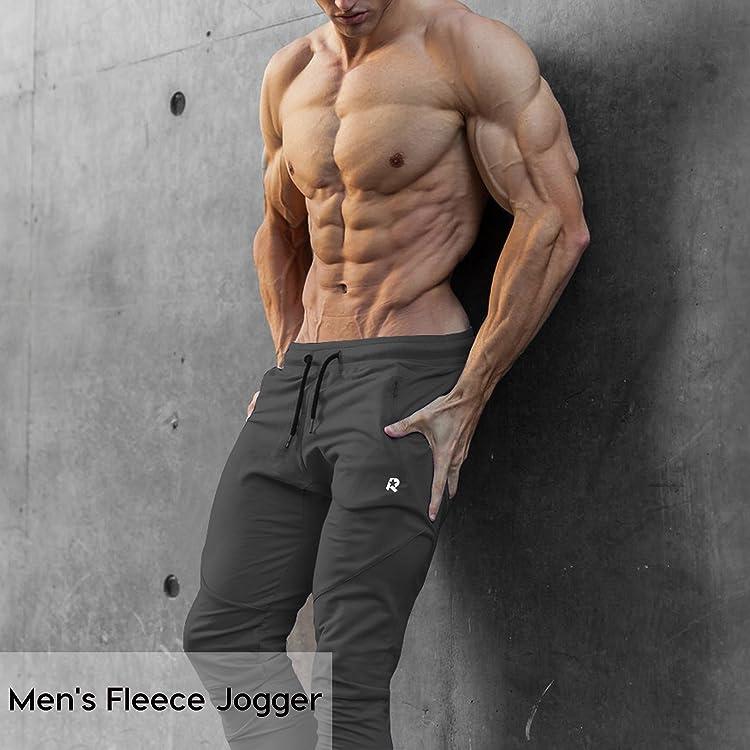 9118e30ef4585 ROWILUX Mens Sport Jogger Pants Zipper Pockets Casual Gym Workout Sweatpants