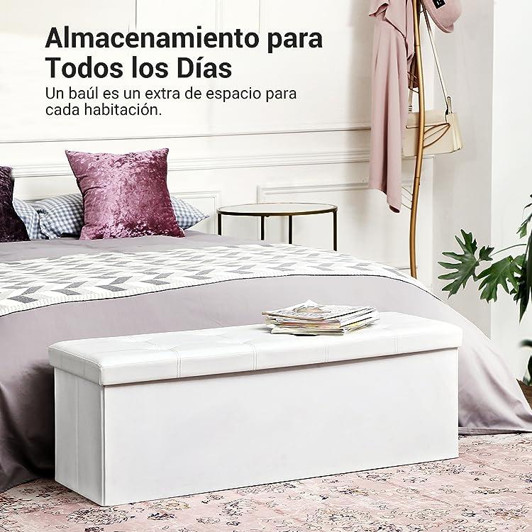 SONGMICS 110 cm Ba/úl Puff Taburete para almacenaje Plegable Carga m/áxima de 300kg Textil Lino Gris Claro LSF77G