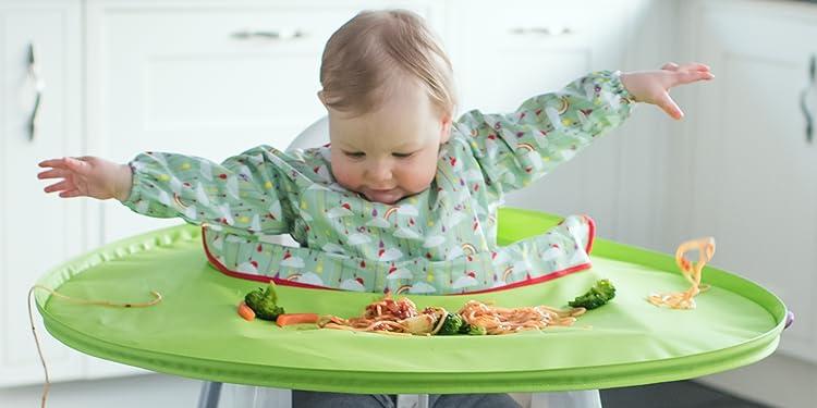 Tidy Tot BLW wasserdichtes L/ätzchen,langarm Essen,Malen,Basteln.Freie Tasche Tidy Tot Toddler Bib Pistachio Green