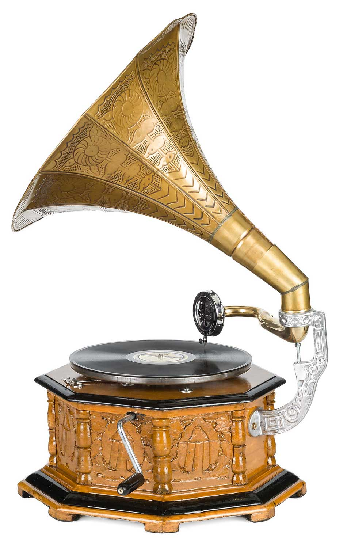 Trichter Grammophon Horn silberfarben im antik Stil gramophone D
