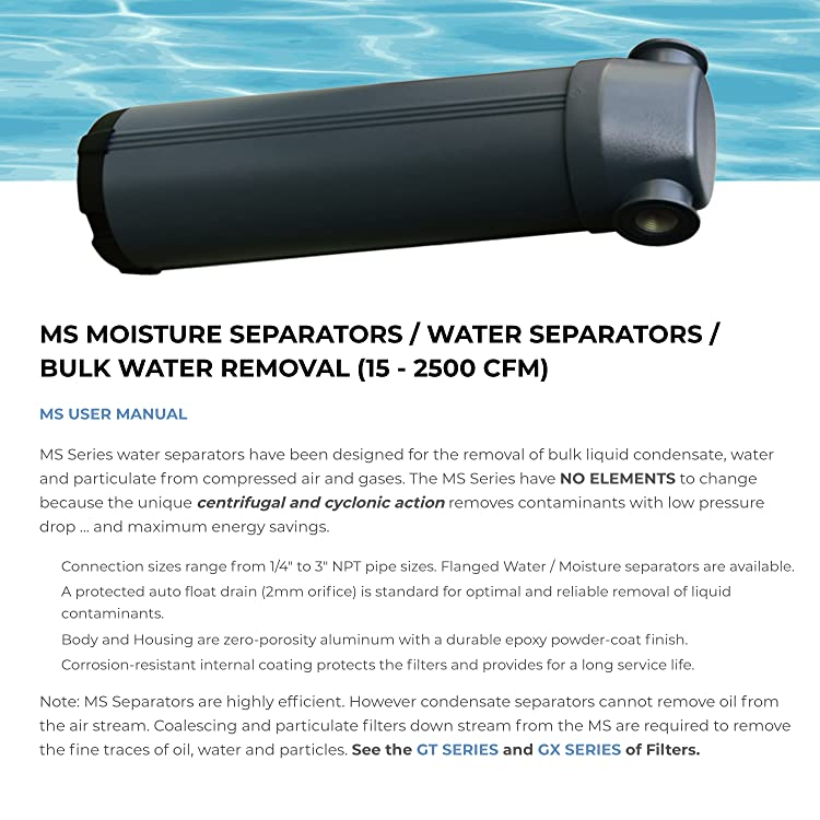 1//2 NPT 60CFM Moisture Separator//Water Separator for Compressed Air /& Pneumatic Systems with Internal Float Drain MS-0060-050NPT 235 Max PSI by Alpha-Pure