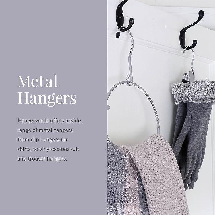 HANGERWORLD 50 Galvanised 41cm Orange 13 Gauge Metal Wire Coat Clothes Garment Trouser Bar Hangers.