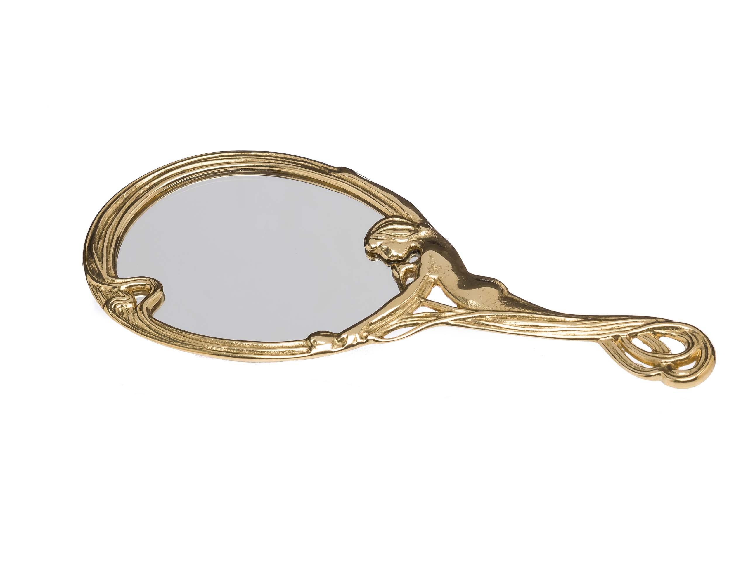 Porzellan Skulptur Dame Spiegel antik Stil Kosmetikspiegel Standspiegel mirror