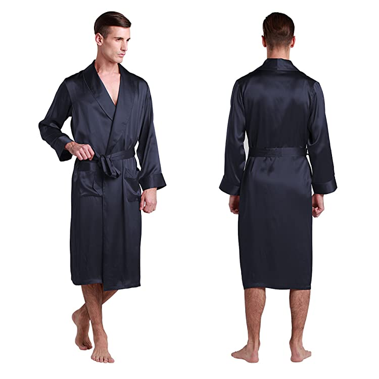 fd8cbd90ea6d0 Make your choice and you will love the every nights with this soft and luxury  silk robe. LilySilk Men s Silk Robe Long Tea Length Lapel Collar 22 Momme  100 ...