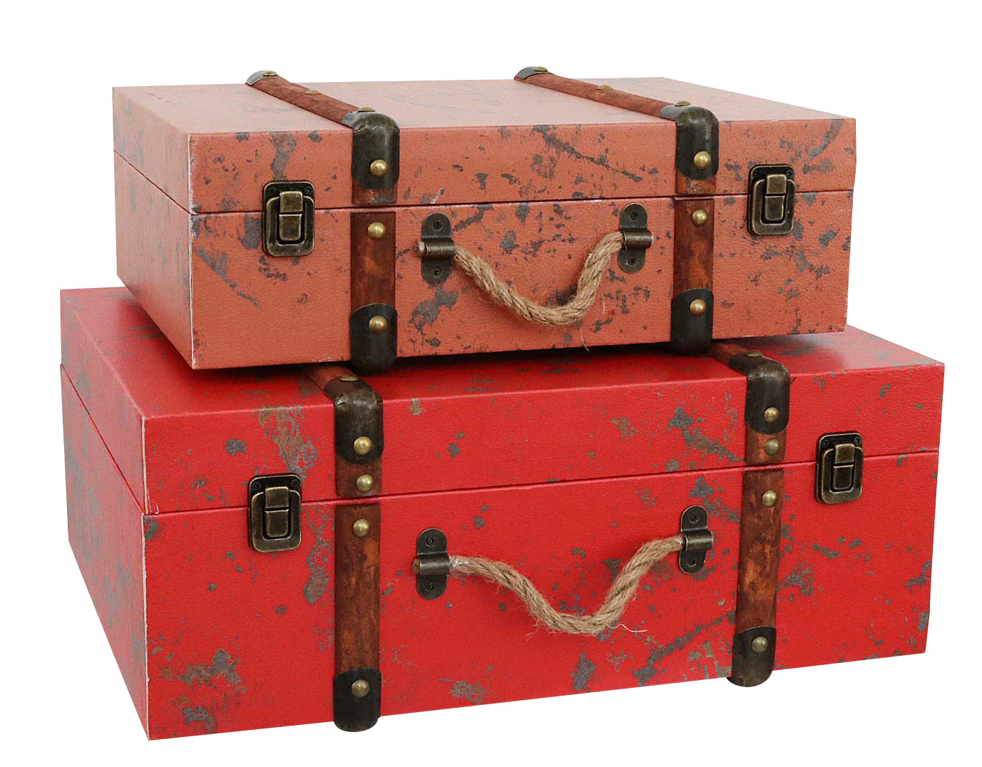2x Koffer Box Kiste antik Stil Holz Kosmetikbox Eifelturm Schatzkiste Truhen