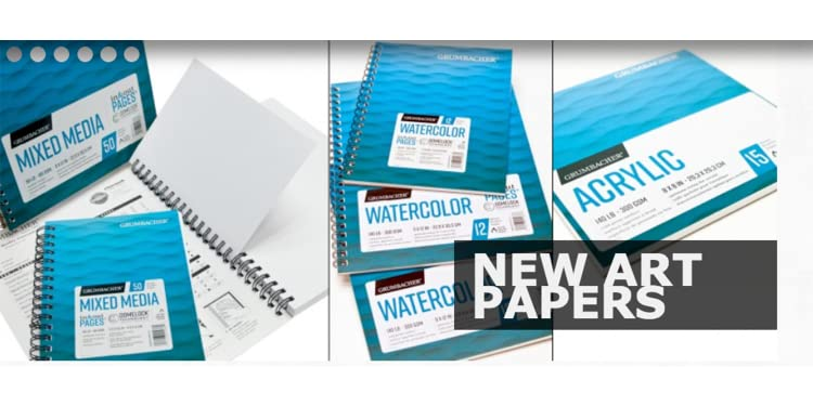 Top Wired 140 lb Grumbacher Acrylic Paper Pad with in /& Out Pages 15 White Sheets//Pad 12 x 18 inches 1 Each 26460801812 // 300 GSM