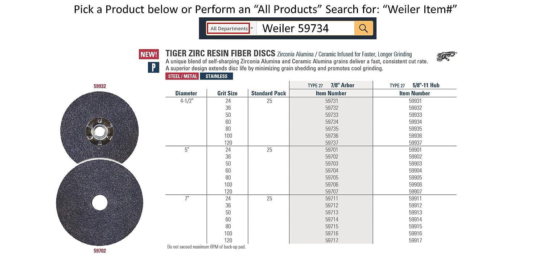 Weiler 59736 Tiger Zirconia Alumina Resin Fiber Sanding /& Grinding Disc 4-1//2 Diameter 100 Grit 7//8 Arbor Hole, Pack of 25