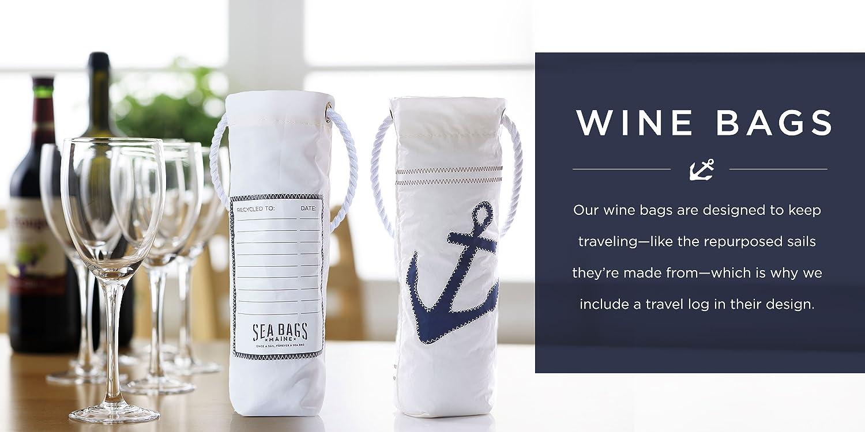 Sea Bags Recycled Sail Cloth Anchor Pop Wine Bag