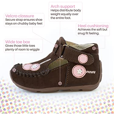 Wobbly Waddlers First Step Aiden Handmade Hard-Sole Moccasin with Arch Support
