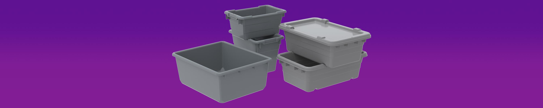 Grey Akro-Mils 34305 Jumbo Lug Plastic Nest and Cross Stack Tub Tote 25 x 16 x 9 Case of 6