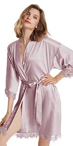 B07Z3PCLSC-Womens Satin Robe with Lace Trim