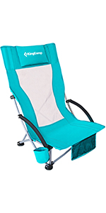 Beach Chair with Cup Holder Pocket Pillow