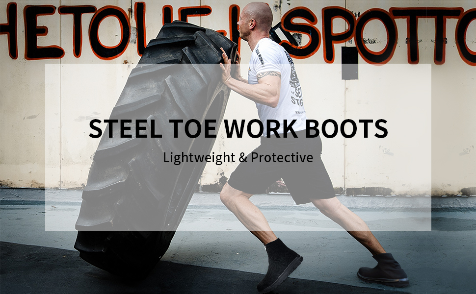 lightweight steel toe work boots for women men