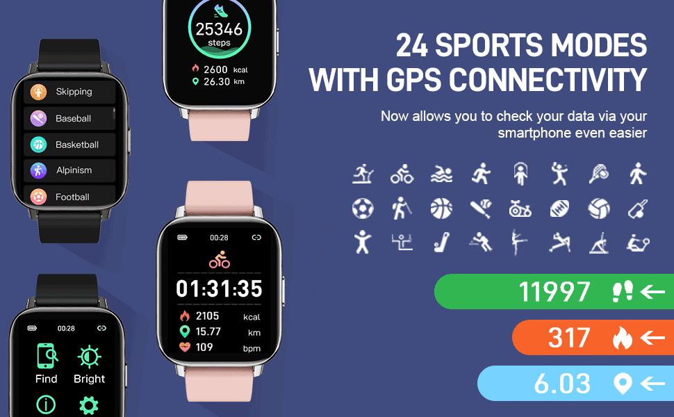 24 sport modes include run, fast walk, pool swim, volleyball, basketball, sit-ups, tennis, etc