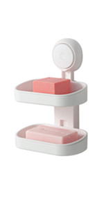 TAILI Double Layer Soap Dish Suction Cup Soap Holder, Strong Sponge Holder