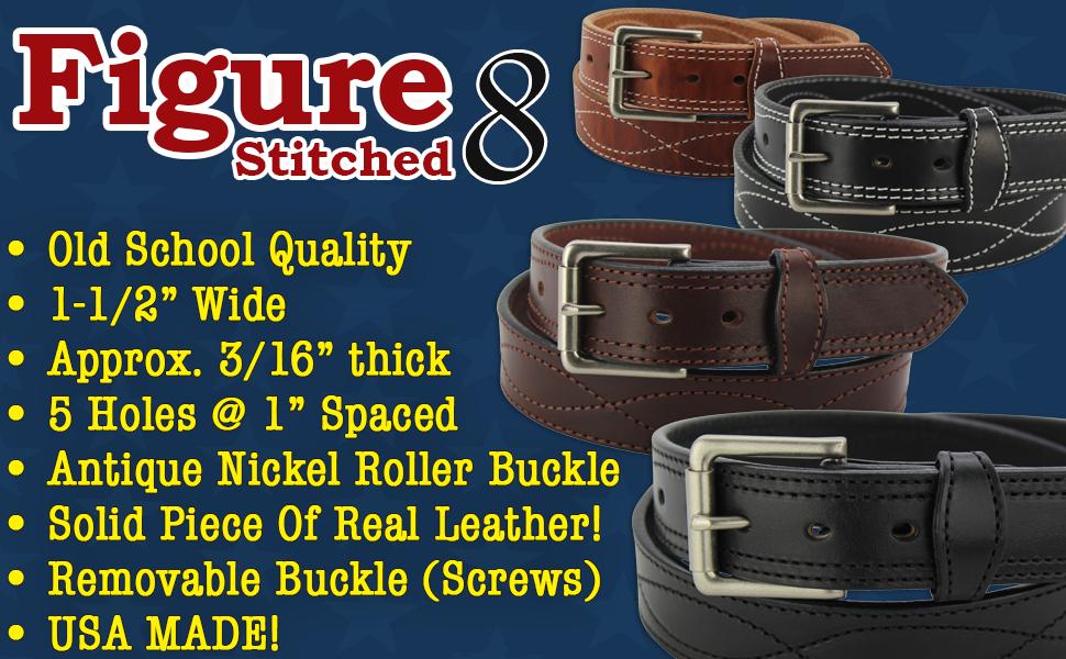 Bullhide Leather Belt Figure 8 Stitched (8019)