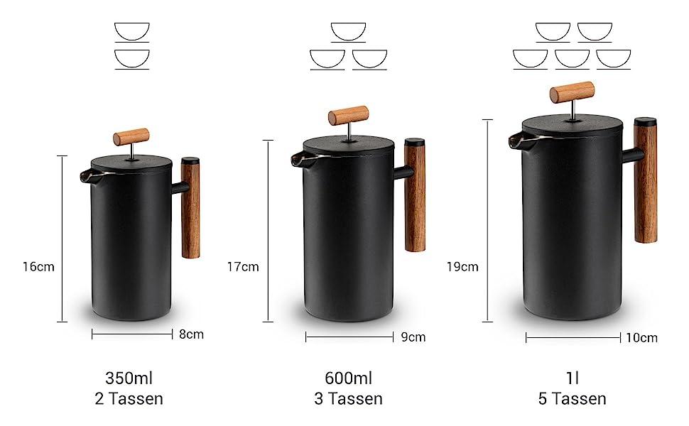Välj din storlek: 350 ml för upp till 2 koppar, 600 ml för upp till 3 koppar, 1 l för upp till 5 koppar