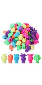 Erasers, Cap Erasers, 60 Pack, Animal Eraser Caps, Erasers for Kids