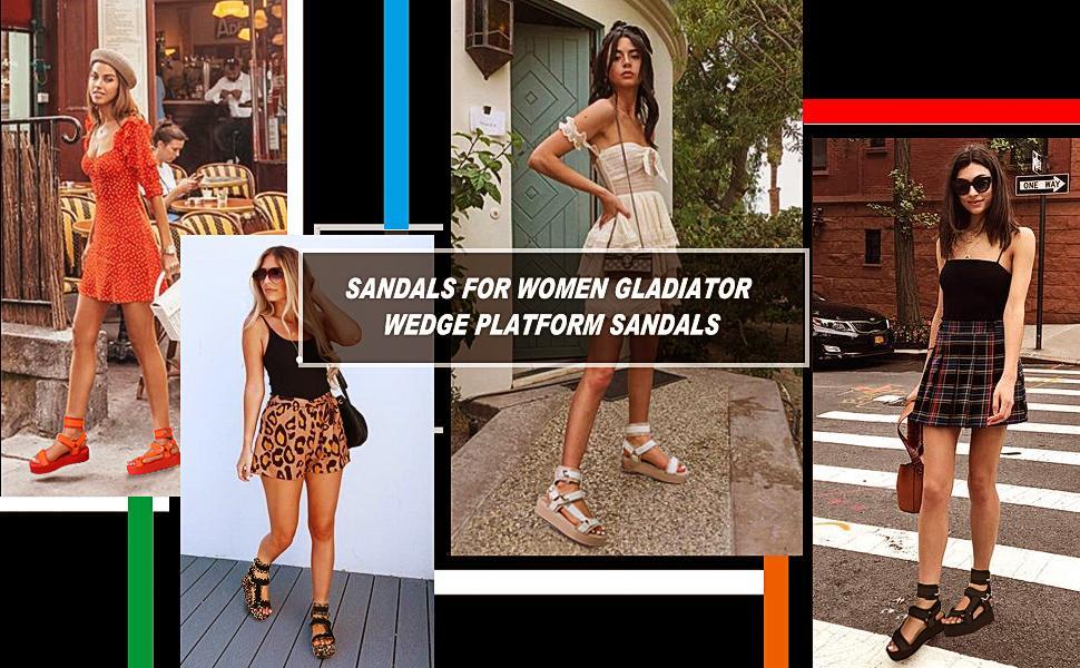 WEDGE SANDALS GLADIATOR SANDALS PLATFORM SANDALS HOOK AND LOOP STRAPPY SANDALS