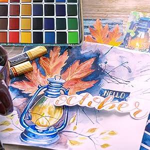 Watercolor Palette Paint Tin Case with 40pcs White Plastic Empty Watercolor Half Pans