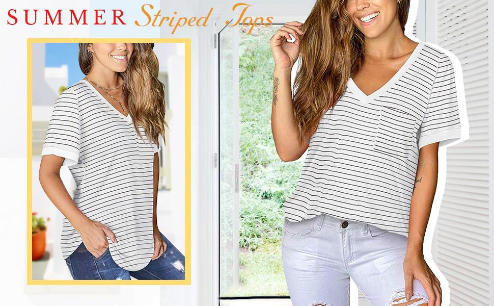 Womens Short Sleeve Striped T Shirts V Neck Loose Fit Summer Casual Tops with Front Pocket