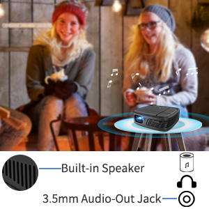 pico projectot with speaker, 3.5mm audio out jack