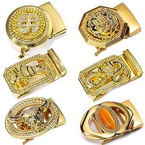 gold belt buckle fashion mens waist belt jeans dress business animal buckle ratchet adjustable