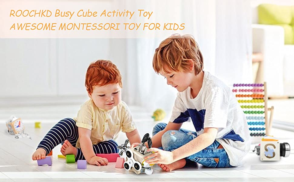 ROOCHKD Busy Cube Wooden Activity Cube Montessori Board Travel Toys