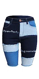patchwork bermuda jeans patch short jeans