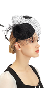 Black Fascinator Hats for Women Pillbox Hat with Veil Tea Party Headwear