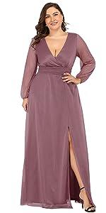 Women's Leg Slit V-Neck Sparkle Plus Size Evening Party Dress with Sleeves