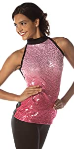 pink ombre sequin mockneck tunic top
