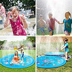 1. This shallow pool sprinkler splash pad can keep children cool throughout the summer.
