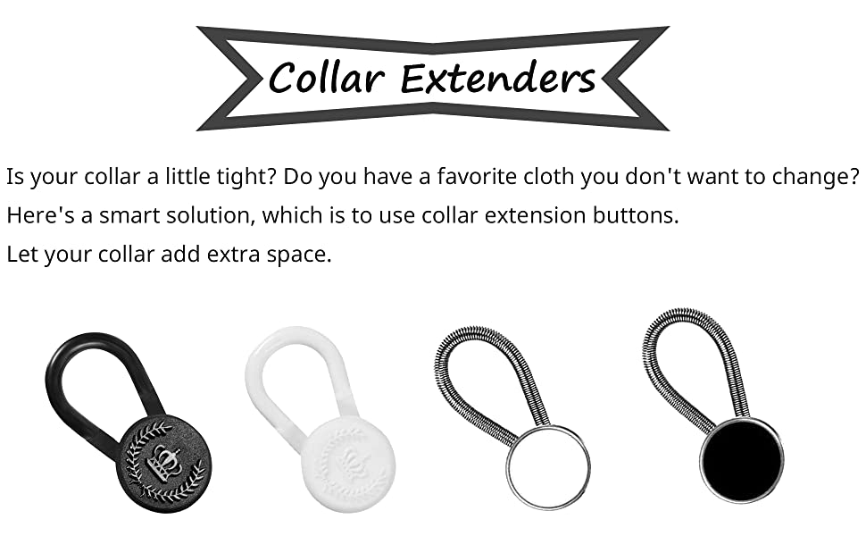 8 Phoenix Mall Pieces White Black Collar Extender Button Plastic ...