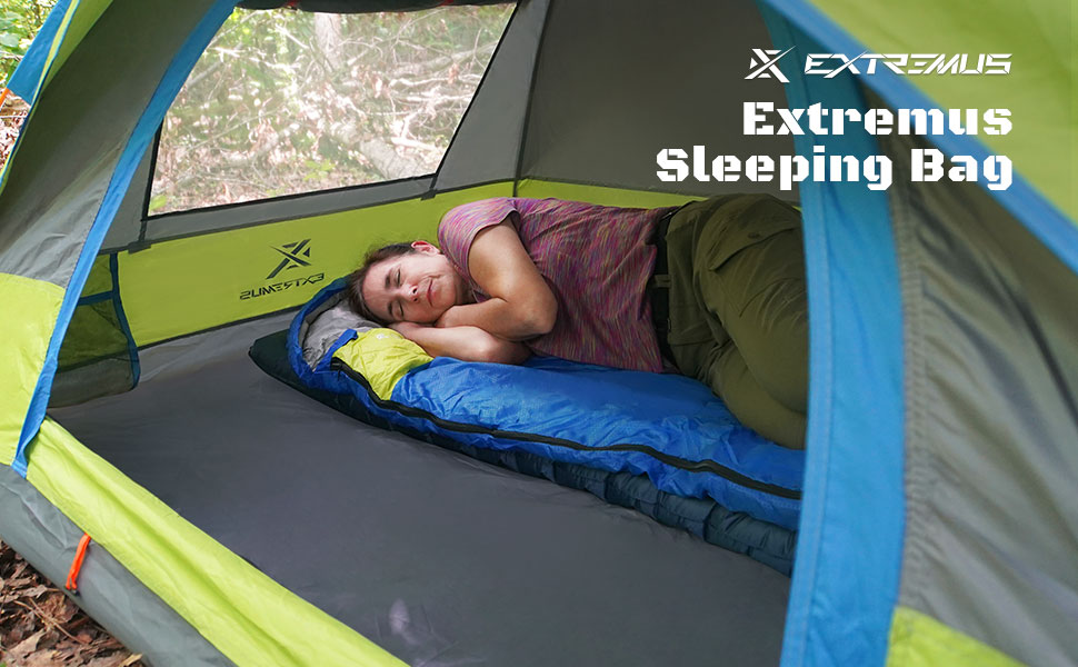 Extremus Rectangular Sleeping Bags, 3-Season Comfort, 2-Person, Perfect for Adults and Kids