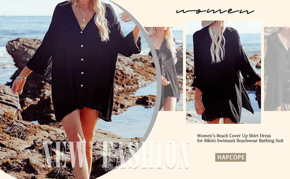 Women's Beach Cover Up Shirt Dress for Bikini Swimsuit Beachwear Bathing Suit