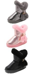 Girls Sweet Pompoms Winter Slip-On Warm Fur Lined Snow Boots Fashion High Top Booties
