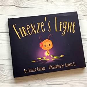 """Book cover with a glowing firefly. Book is titled """"Firenze's Light"""""""
