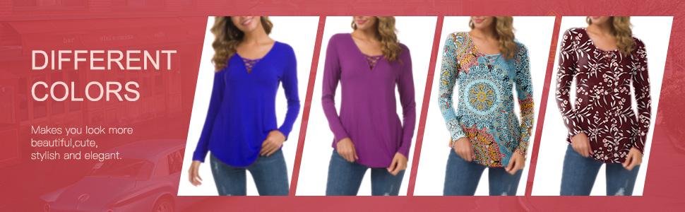 Women's Long Sleeve V-Neck Casual Tops