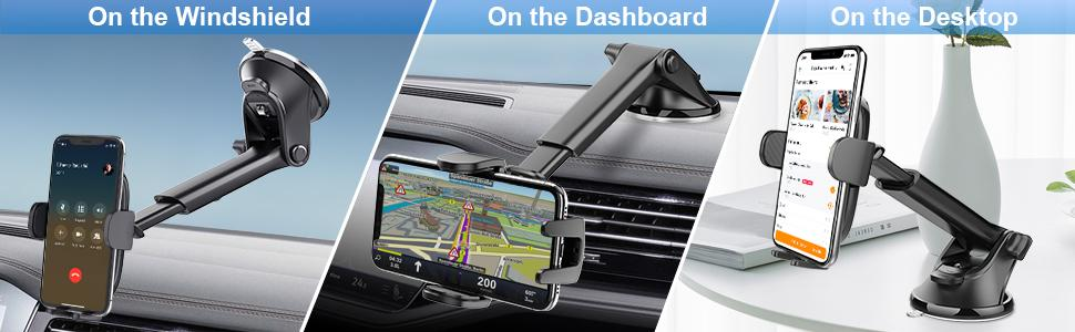 Can be mounted on either dashboard or windshield, or smooth flat surfaces