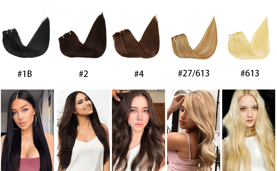 Real Human Hair  Clip in Hair Extensions